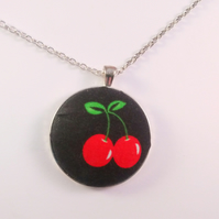 38mm Cherry Fabric Covered Button Pendant