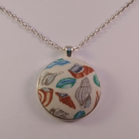 38mm Sea Shell Fabric Covered Button Pendant