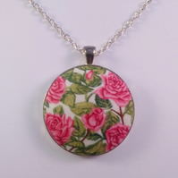 38mm Pink Rose Fabric Covered Button Pendant