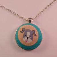 38mm Cartoon Dog Fabric Covered Button Pendant