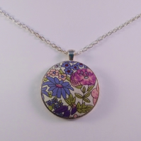 38mm Purple Floral Fabric Covered Button Pendant
