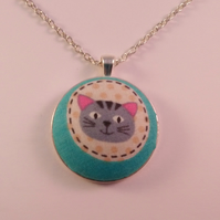 38mm Cartoon Cat Fabric Covered Button Pendant