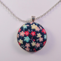 38mm Blue Floral Fabric Covered Button Pendant