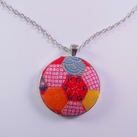Red Hexagonal Pattern Fabric Covered Button Pendant