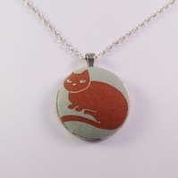 38mm Cat Fabric Covered Button Pendant