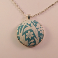 38mm White and Teal Floral Fabric Covered Button Pendant