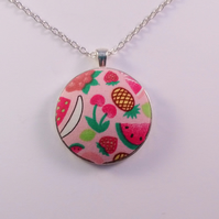 38mm Tutti-Frutti Fabric Covered Button Pendant
