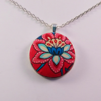38mm Red and Blue Flower Fabric Covered Button Pendant