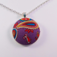 38mm Purple Paisley Design Fabric Covered Button Pendant