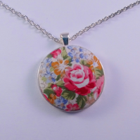 38mm Floral Design Fabric Covered Button Pendant