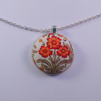 38mm Orange Flower Design Fabric Covered Button Pendant