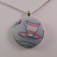 38mm Teacup Design Fabric Covered Button Pendant