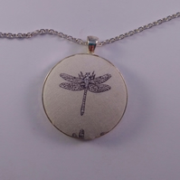 38mm Dragonfly Design Fabric Covered Button Pendant