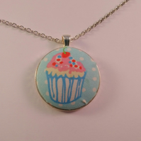 38mm Cupcake Design Fabric Covered Button Pendant