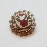 Red Floral Design Fabric Covered Button Brooch