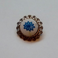 Blue Flower Design Fabric Covered Button Brooch