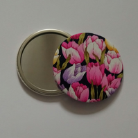 Tulip Design Fabric Backed Pocket Mirror