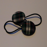 Grey Tartan Design Hair Bobble Hair Bands