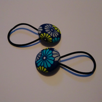 Blue Floral Design Hair Bobble Hair Bands