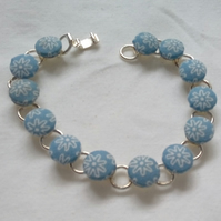 Blue Floral Design Fabric Covered Button Bracelet