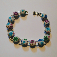 Floral Design Fabric Covered Button Bracelet