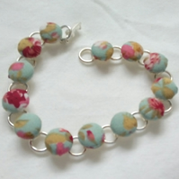 SALE - Green Floral Fabric Covered Button Bracelet