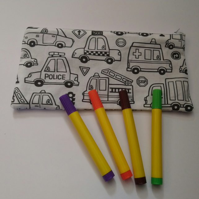 Cars and Transport Pencil Case to Colour with FREE pack of washable pens