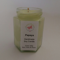 Papaya Scented Soy Candle in Hexagonal Jar