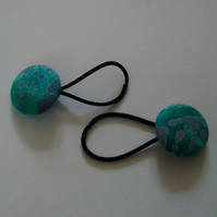 Green Batik Design Hair Bobble Hair Bands