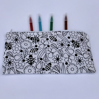 Pencil case to colour with bugs and flower design, letterbox gift set