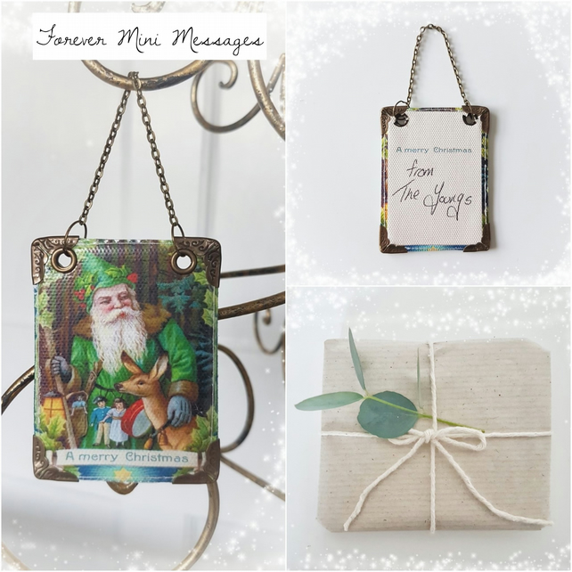 Vegan leather Forever mini message, santa claus, tree decoration, tree tag,green