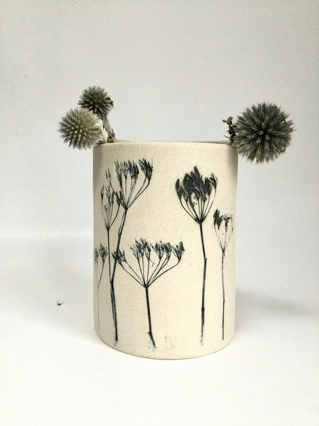 Cow parsley printed vase (P&P included)
