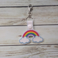 Rainbow keyring, Rainbow gifts, rainbow and clouds