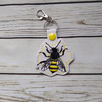 Bee keyring, embroidered bumble bee gifts, Bee key fob, bees key chain