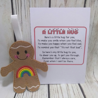 Rainbow Pocket Hug Gingerbread man, Pocket hug, send a hug gift