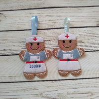 Nurse Gingerbread decoration,  personalized nurse gift, nurse keyring, nurse fri