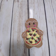 Pizza Gingerbread man decoration, pizza fridge magnet