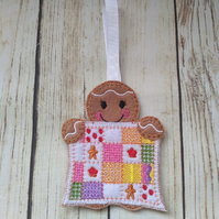 Sewing Quilting Gingerbread Ornament, sewing crafters gift, embroidery gift