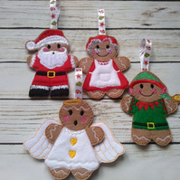 4 Gingerbread Christmas Tree Decorations