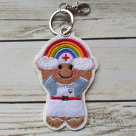 Nurse Gingerbread Rainbow Keyring, Nurse gifts, nurse Christmas