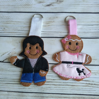 Rock n roll gingerbread couple, Christmas decoration, 1950s gift