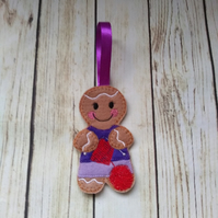 Knitting Gingerbread decoration, knitting gift, gift for knitters, gingerbread C