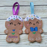 Personalized Gingerbread Christmas Decorations