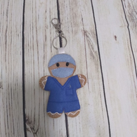 Scrub Nurse Gingerbread Decoration, Theatre nurse keyring, scrub nurse gift
