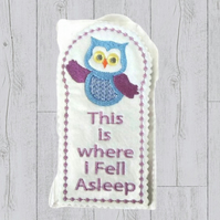 Owl bookmark made from felt leatherette backing and silk thread, owl gifts