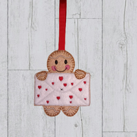 Valentine Gingerbread with holding a cute valentine card - Valentine gift