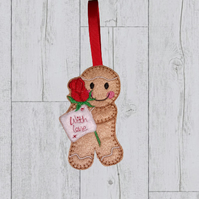 Valentine Gingerbread holding a red rose and a with love sign - valentine gift