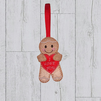 "Valentine Gingerbread holding a red heart with ""I love you"" , valentine gift"
