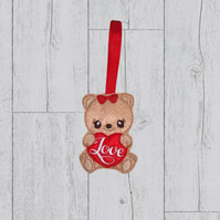 Valentine Bear holding a red heart, Valentine gift