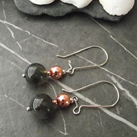 Agate and copper earrings